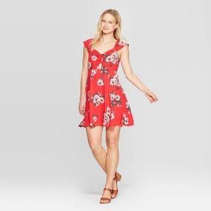 Xhilaration Floral Print Sweetheart Neck Dress
